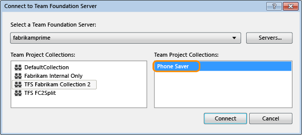 Connect to TFS Team Project using TeamProjectPicker Dialog