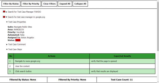 Test Cases HTML Report