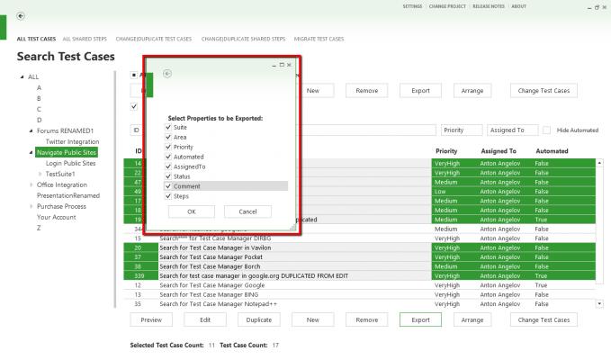 Select Properties To Export Dialog