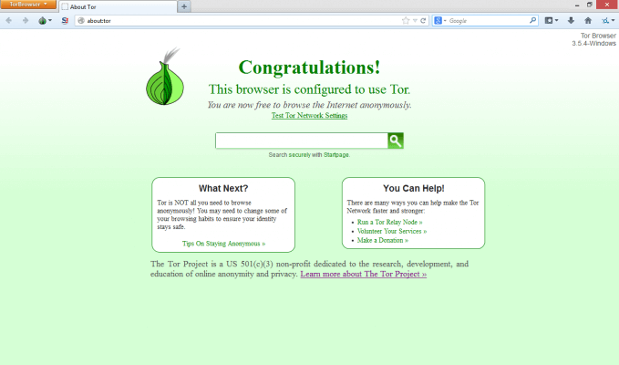 Tor Browser Initial View