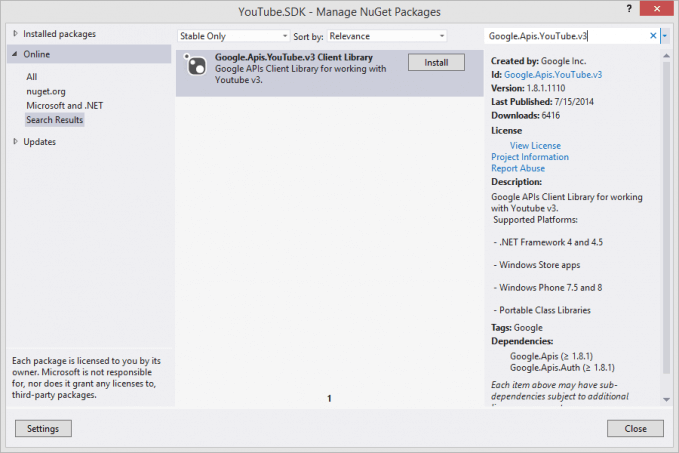 YouTube API NuGet Package