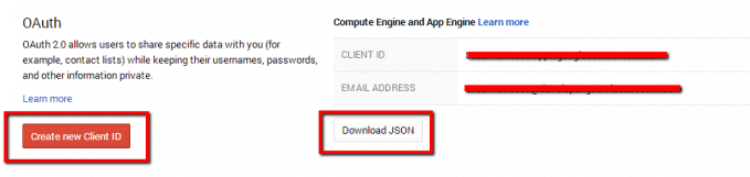 Create New Client Id Google Developers Console