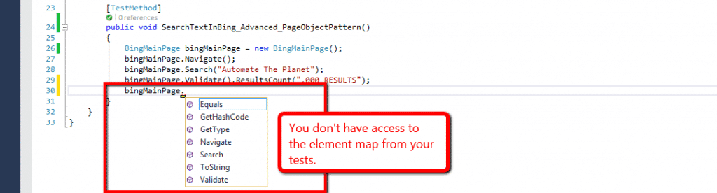 Advanced Page Object Pattern No Access to Element Map
