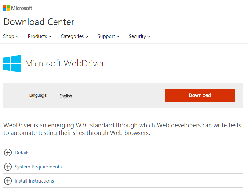 Download Microsoft Edge WebDriver