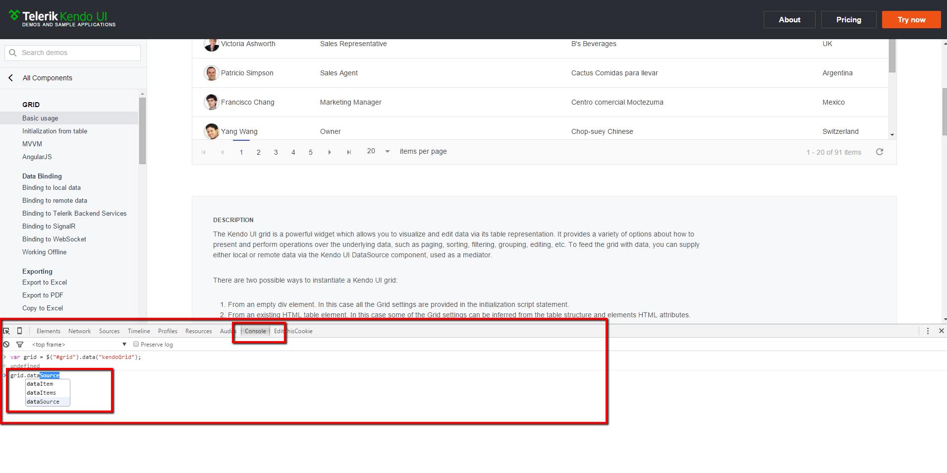 Kendo Grid Demo Chrome JavaScript Console