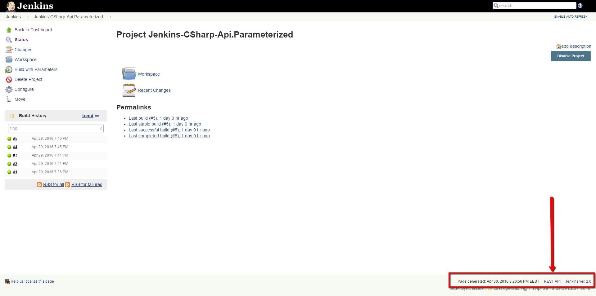 Jenkins REST API URL