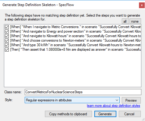 Generate Step Definitions Window Regular Expressions