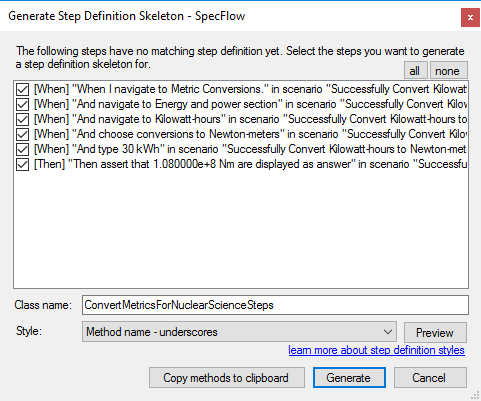 Generate Step Definitions Skeleton Window Method Name Underscores