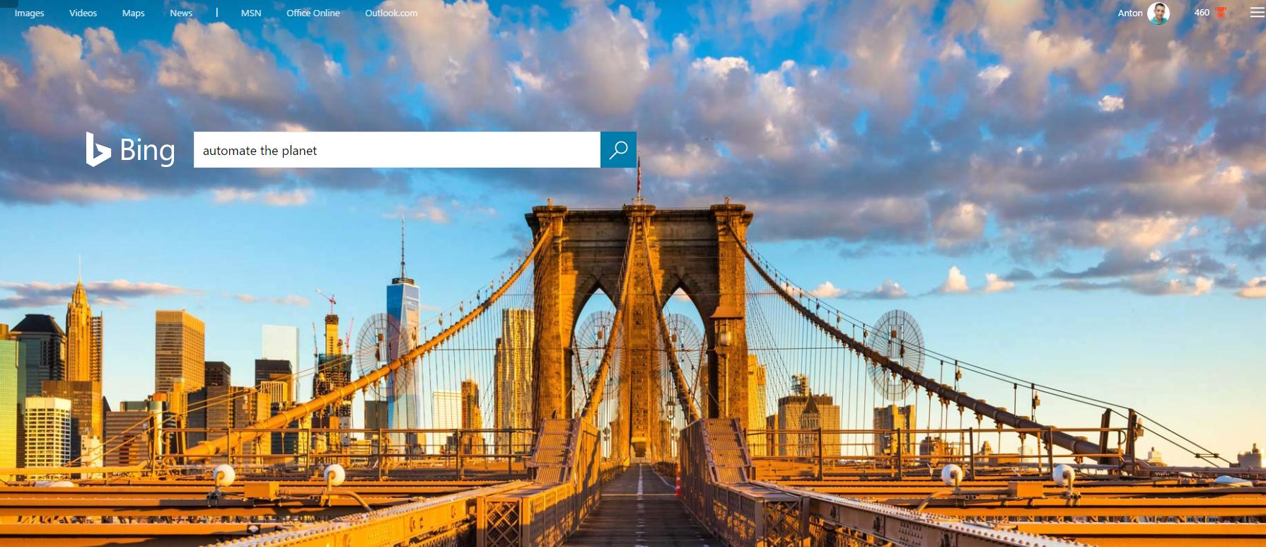 Bing main page