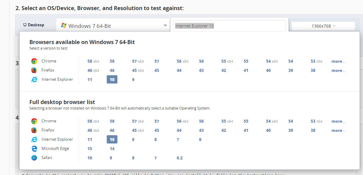 Select Browser Configuration