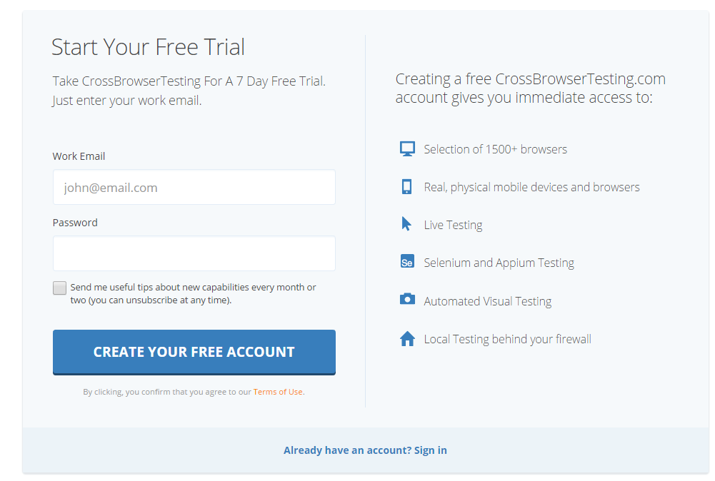 Try Free Cross Browser Testing