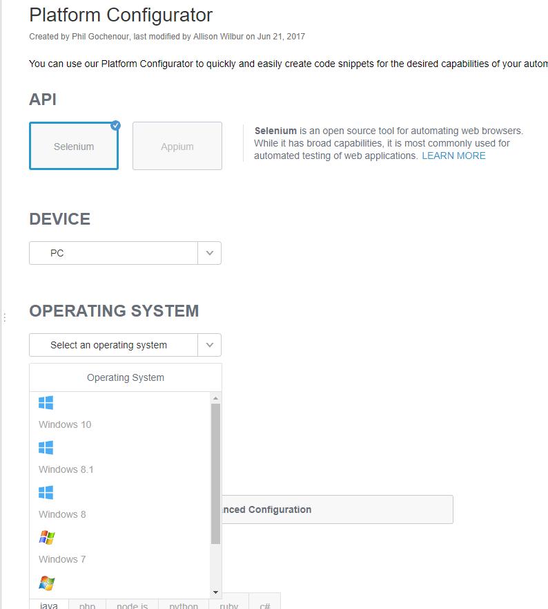 Configure Exact OS SauceLabs