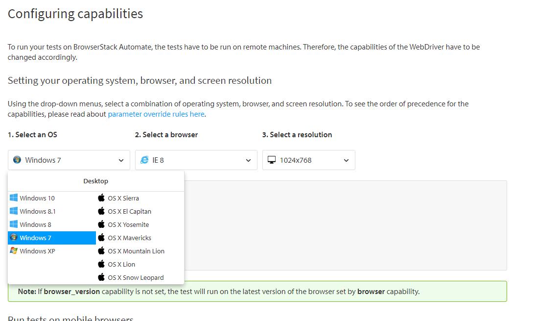 Configure OS BrowserStack